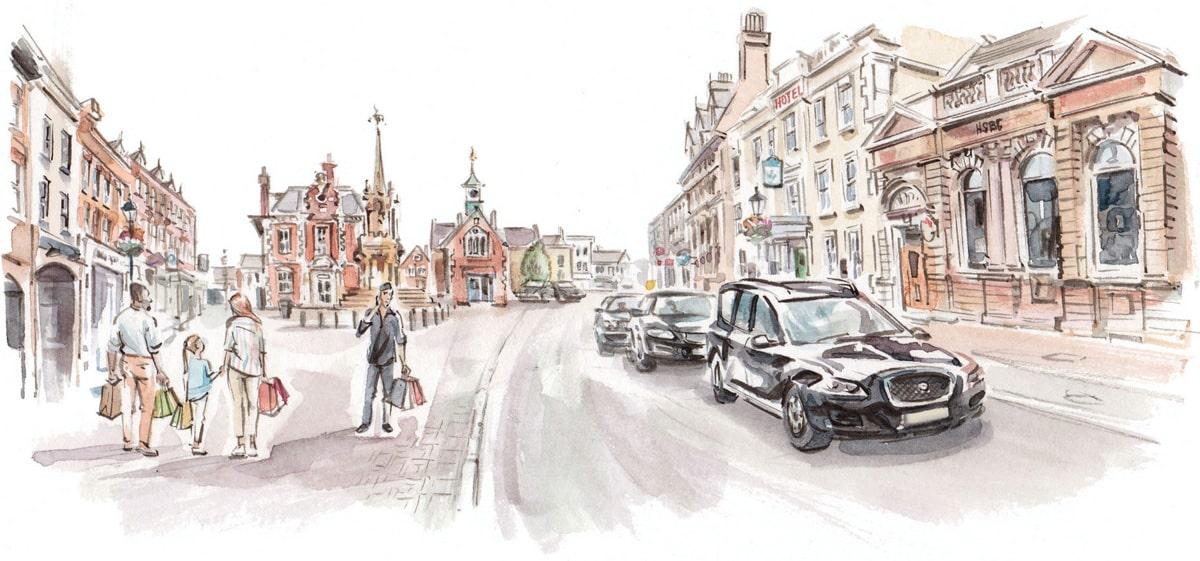 Graphic image of Leighton Buzzard High Street