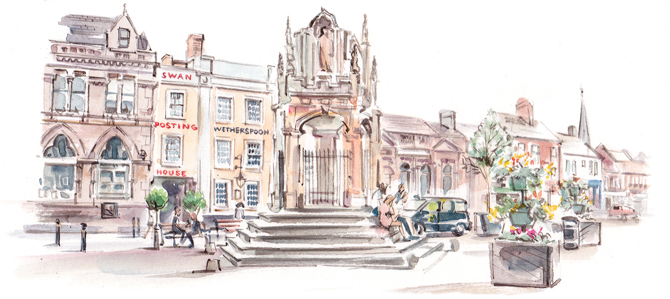 Leighton Buzzard market square illustration