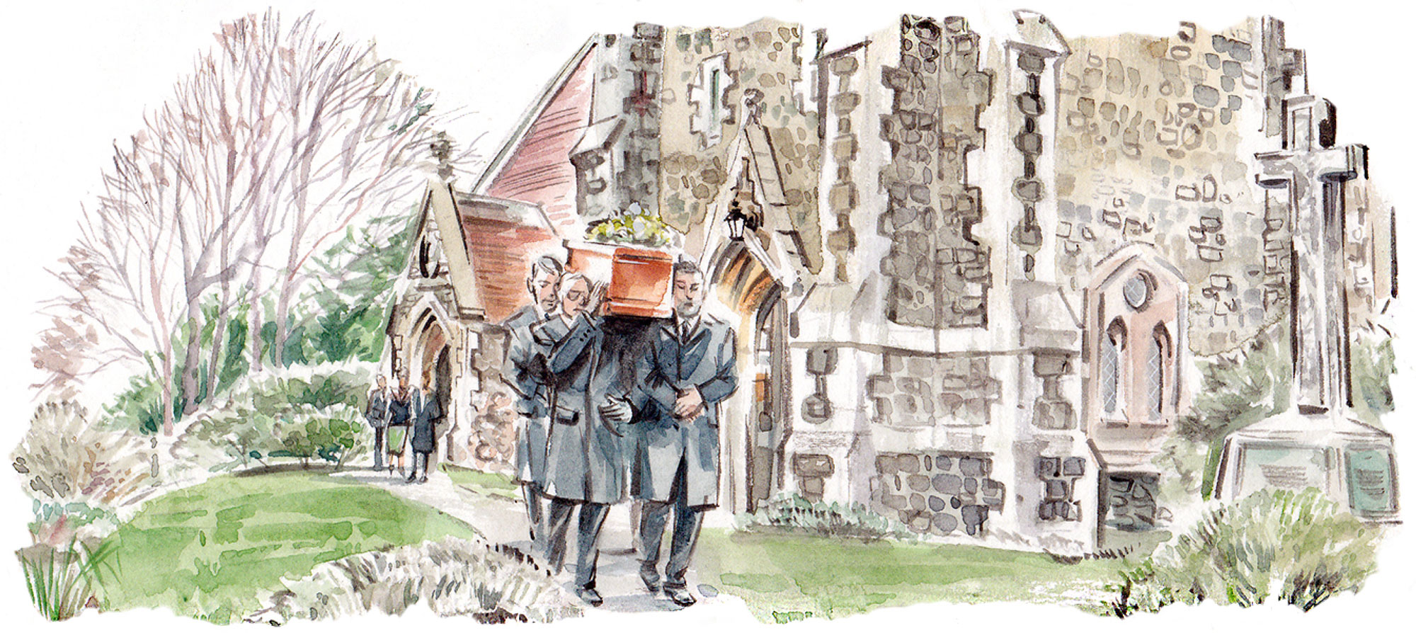 Pallbearers carrying a coffin through a churchyard illustration