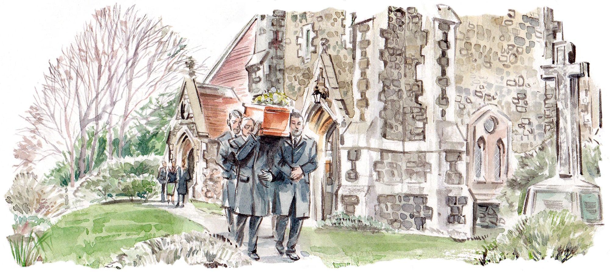 Pallbearers carrying a coffin through a churchyard illustration