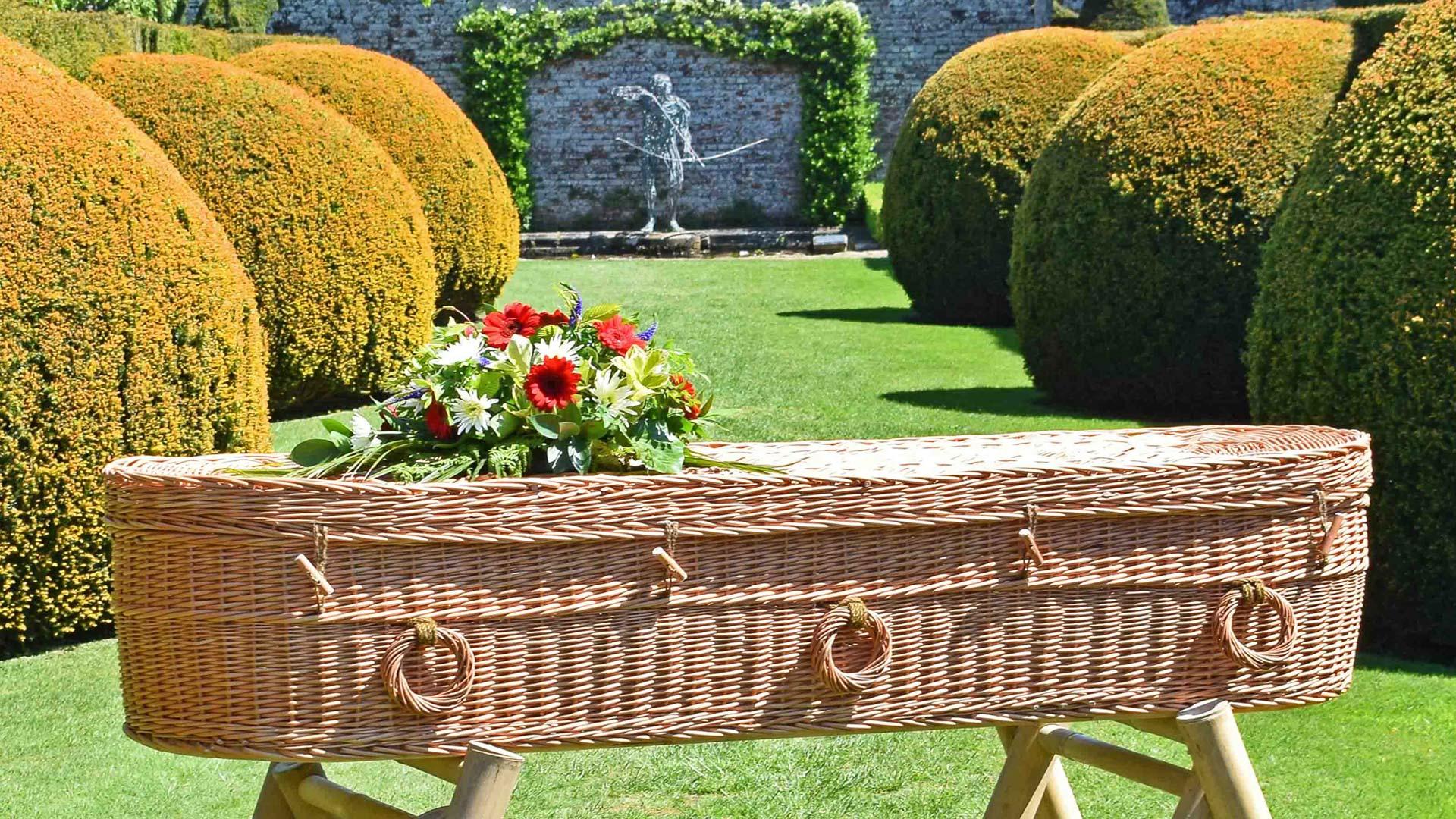 bio degradable coffin in garden
